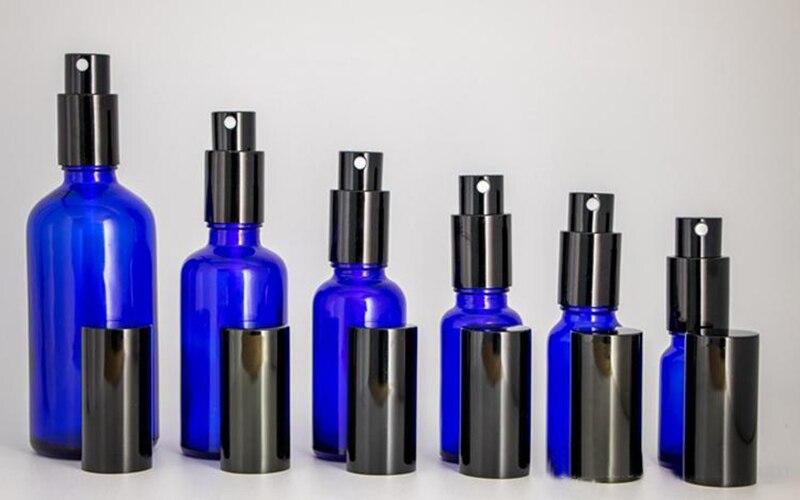 Hot Sale 10ml 15ml 20ml 30ml 50ml 100ml Blue Glass Spray Bottle Portable Perfume Glass Bottles with Black Perfume Atomizer
