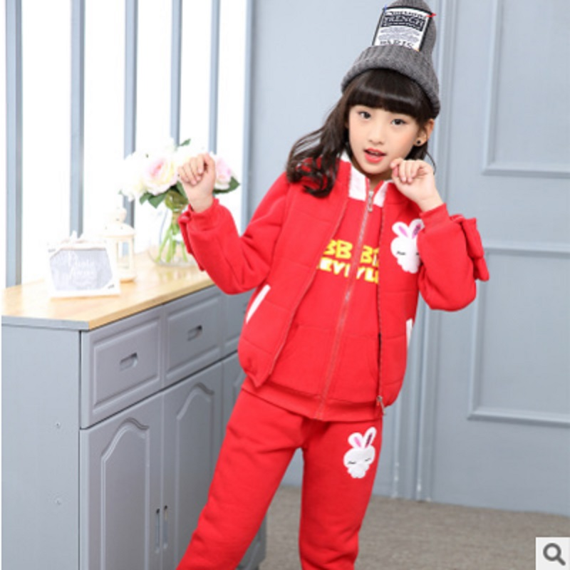 Children 's Sports Clothing Sets New 2017 Winter Girls Cartoon Print 3 Solid Colors Size4-14 Three-piece Kids Clothes Sets ly121 k s kids 3