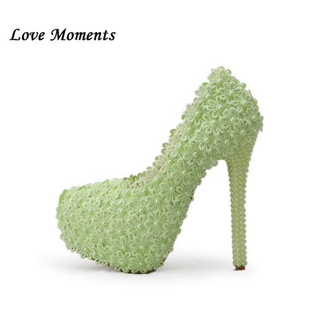 cac3e126ea Aliexpress.com : Buy Colored lace wedding shoes purple/pink/green/ivory  color lace pearl wedding shoes high heeled bridal shoes bridesmaid shoes  from ...