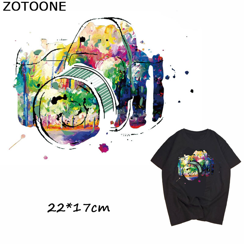 ZOTOONE Pretty Abstract Watercolor Camera Iron on Patches for Clothing Fashion Thermo Sticker Heat Transfers Applique Clothes