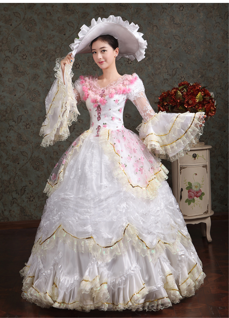 100%real white lace pink flowers carnival ball gown with hat ...