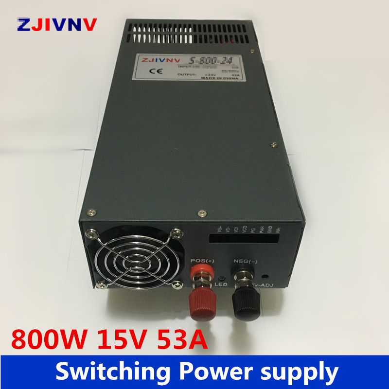 цена на industrial and led used 800W 15v 53a switching power supply AC-DC power supply input 110v or 220v power supply unit adapter 15v