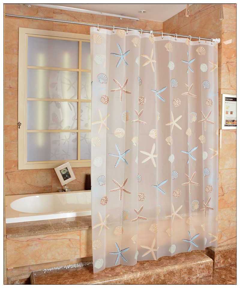 New Starfish Frosted Shower Curtains Waterproof Mouldproof Thicken ...