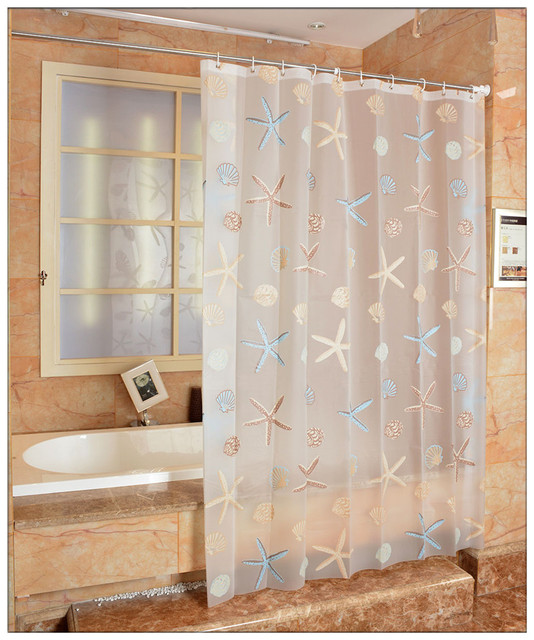 New Starfish Frosted Shower Curtains Waterproof Mouldproof Thicken Translucent Bathroom