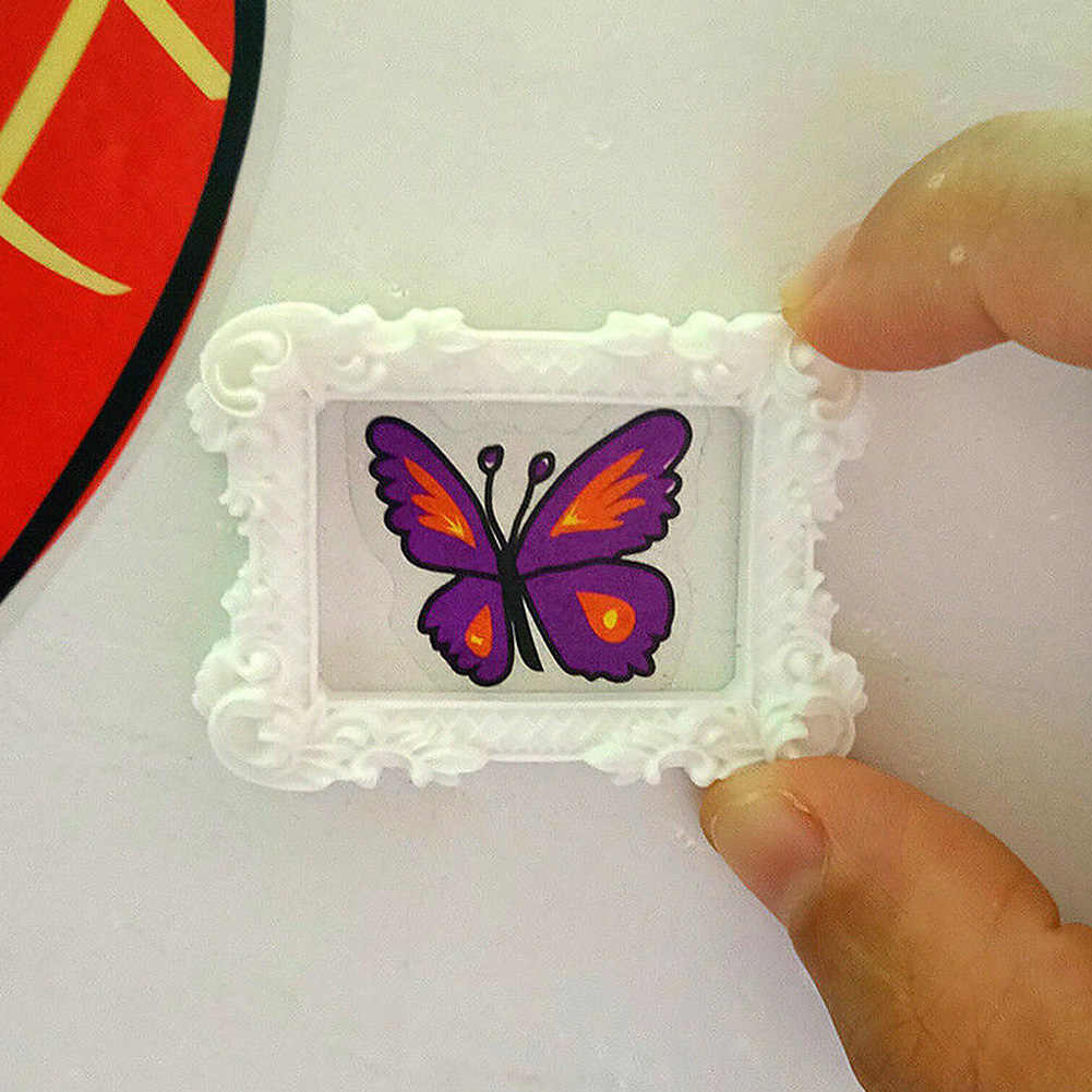 2PCS Miniature Art Painting Mini Resin Display Image Album Photo Frame Picture Furniture Crafts Home Decor Doll House Gift