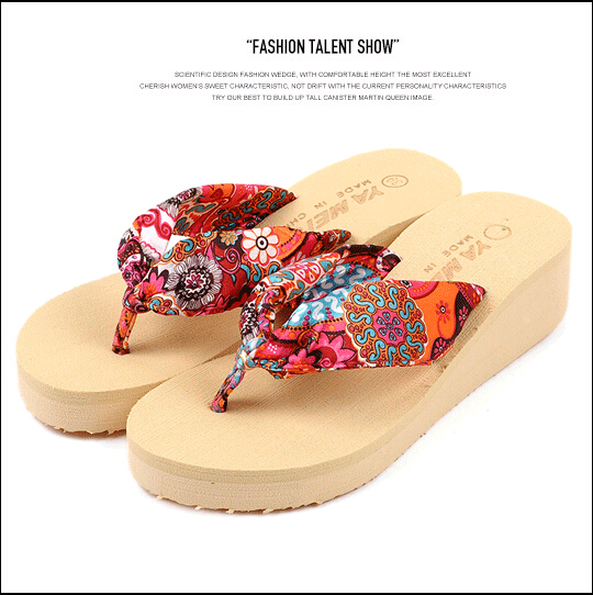 Summer bohemia flower Women flip flops platform wedges Women's sandals platform flip slippers beach shoes women summer slippers striped pattern indoor outdoor beach flip flops shoes women ladies wedges platform flip flops zapatos