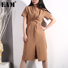 цены на [EAM] 2019 New Spring Summer Round Neck Short Sleeve White Loose Waist Knot Bandage Hem Vent Dress Women Fashion Tide E410  в интернет-магазинах