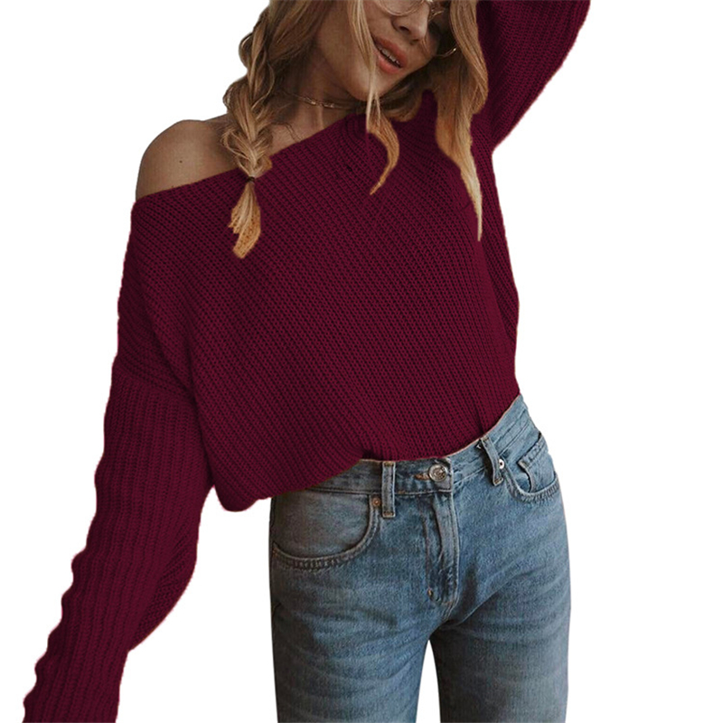 Realistic Harajuku Autumn Winter Sweaters Ladies Pullovers Fashion New Sweater Women Clothes Casual Sueter Mujer Slash Neck Off Shoulder