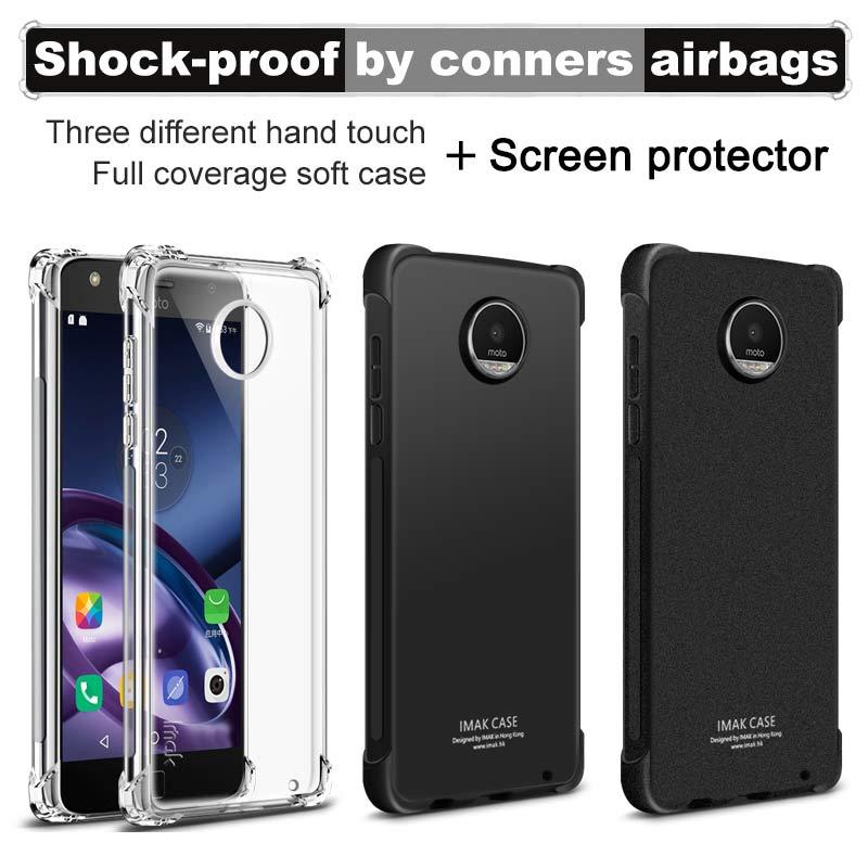 IMAK Airbag Anti-Choc Pleine Couverture pour Motorola Moto Z2 Jouer IMAK Tpu Silicone Quatrième De Couverture Mat Cas avec Écran protecteur