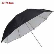 """Про 33 """"/83 см Studio зонтик черные и белые Прорезиненная Ткань Нержавеющая сталь фотографии отражающий зонт Аксессуары для фотостудии"""