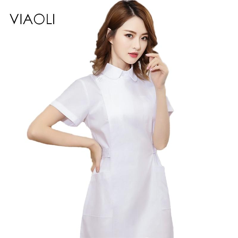 Viaoli 2017 Nurses Wear Summer Short-sleeved Lapel Fashion Doctors White Coat Beauty Salon Pharmacy Uniforms Slim