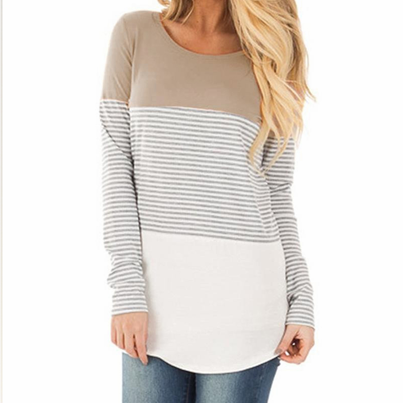 047a4772 Women Long Sleeve Color Block Knits Tunics Ladies Round Neck T Shirts Block Striped  Casual Asymmetrical Black Yellow Khaki Tops-in T-Shirts from Women's ...