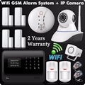 2016 2.4G WiFi GSM GPRS SMS Wireless Home  Security Intruder Alarm System with HD 720P Wifi IP Camera  Smoke Detector