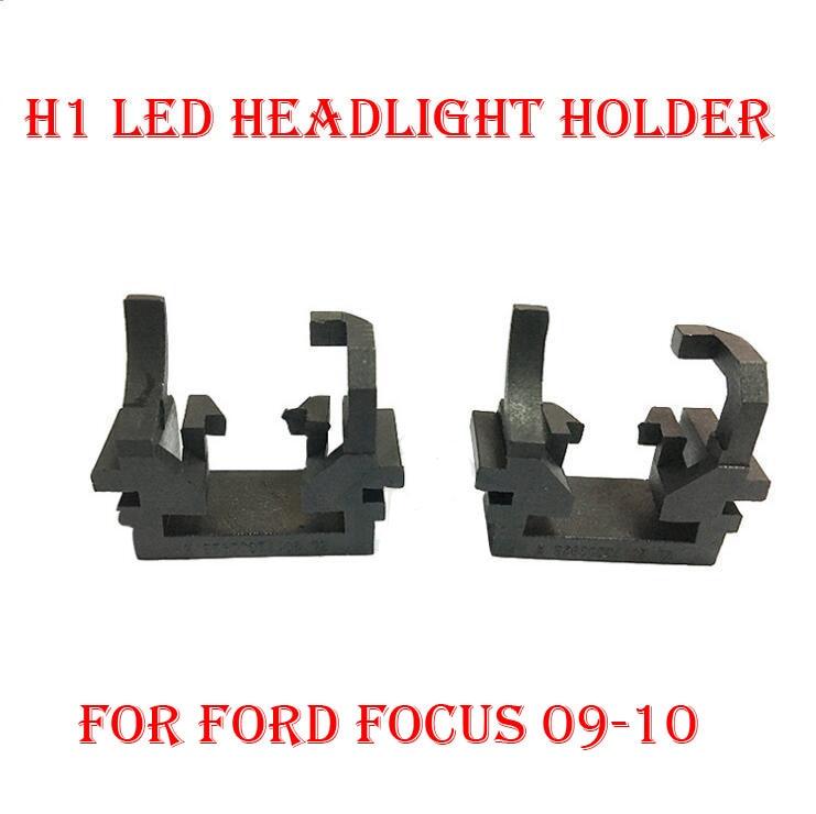 2PCS H1 Sada pro přestavování světlometů LED Držák adaptéru držáku adaptéru Spona držáku sponky pro Ford Focus 09-10 Hi Beam Halogen Convert