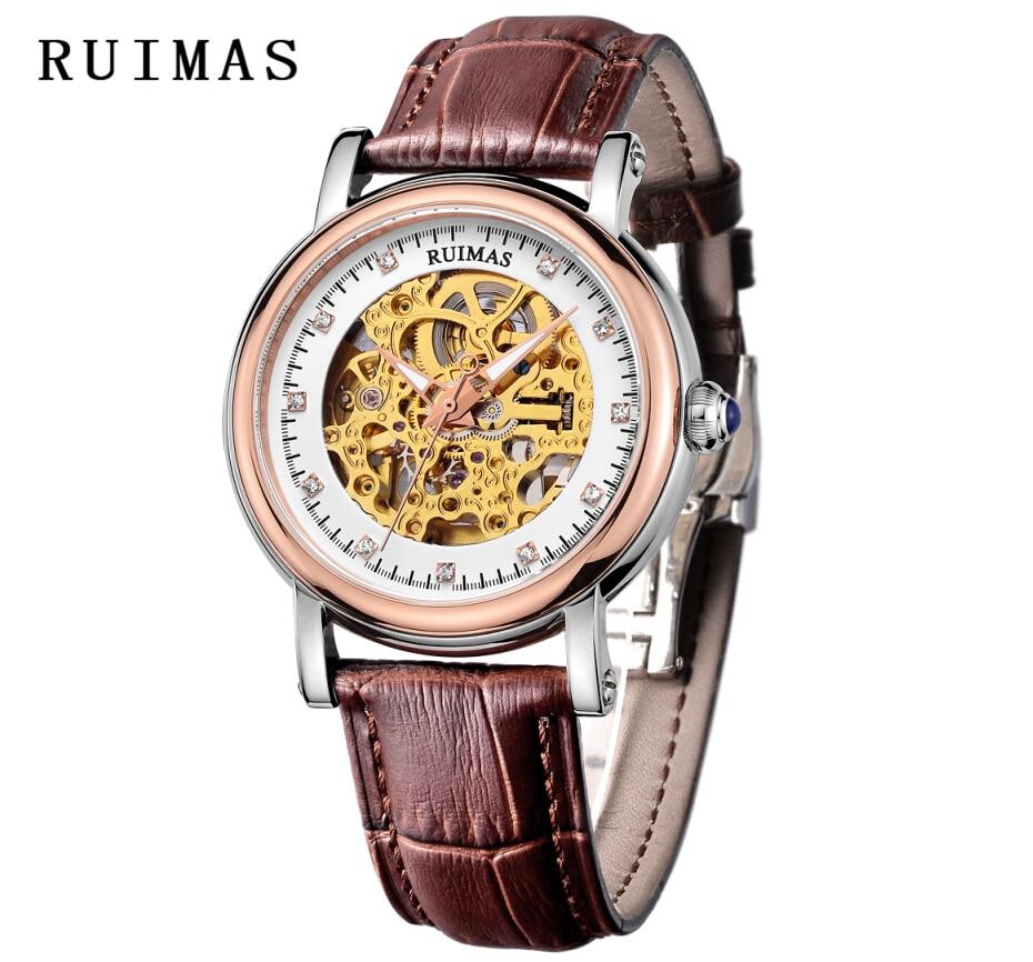 RUIMAS luxe heren mechanisch horloge lederen jurk zakelijke horloges - Herenhorloges