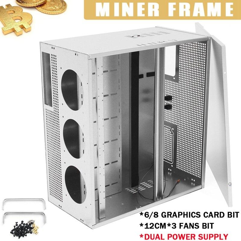 6/8 GPU Графика Caed бит для ETH BTC Open Air Miner добыча Рамка двойной Питание 3x12 см вентилятор позиции для горной машины вентилятор