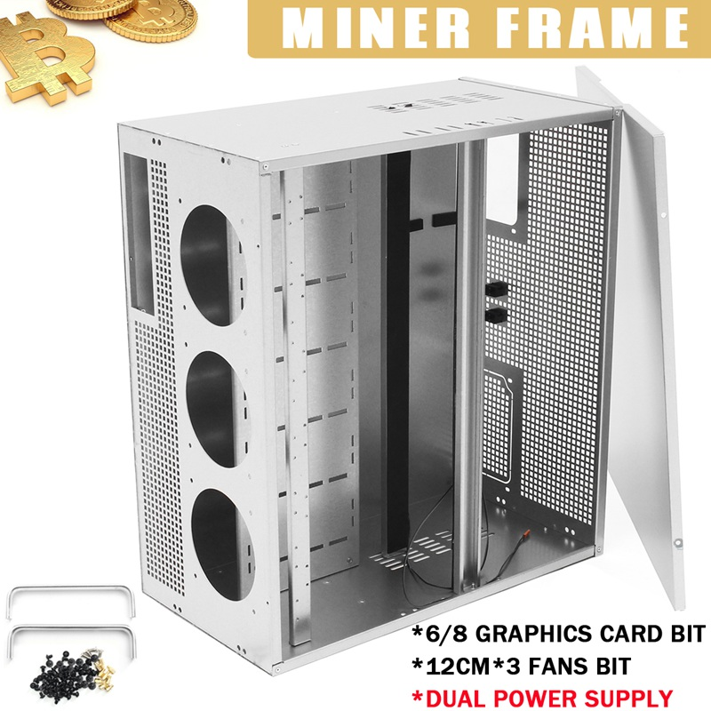 6/8 GPU Graphics Caed Bit For ETH BTC Open Air Miner Mining Frame Dual Power Supply 3x12cm Fan Positions For Mining Machine Fan mining rig miner mining machine chassis mounting btc ic6s motherboard supporting up to 8 gpu without power supply