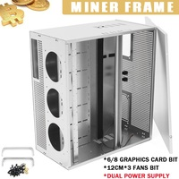 6/8 GPU Graphics Caed Bit For ETH BTC Open Air Miner Mining Frame Dual Power Supply 3x12cm Fan Positions For Mining Machine Fan