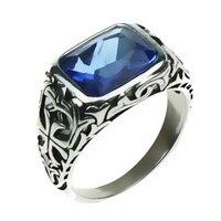 Prawdziwe Czysta 925 Sterling Silver Rings Dla Mężczyzn Niebieski Kamień Naturalny Kryształ Mężczyzna Pierścionek W Stylu Vintage Hollow Grawerowane Kwiat Fine Jewelry
