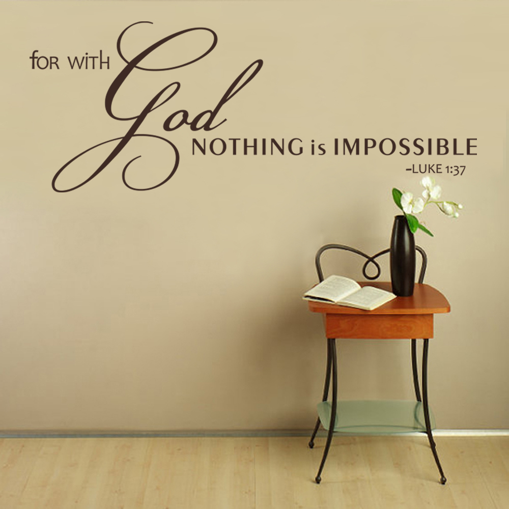 Scripture Wall Decal For With God Nothing Is Impossible Christian Sticker  Bible Verse Sticker 56cm X 147cm In Wall Stickers From Home U0026 Garden On ...