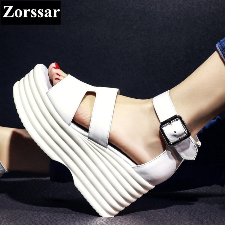 Summer shoes Women Casual Platform wedges sandals open toe woman creeper shoes 2017 Fashion Genuine leather womens heels pumps woman fashion high heels sandals women genuine leather buckle summer shoes brand new wedges casual platform sandal gold silver