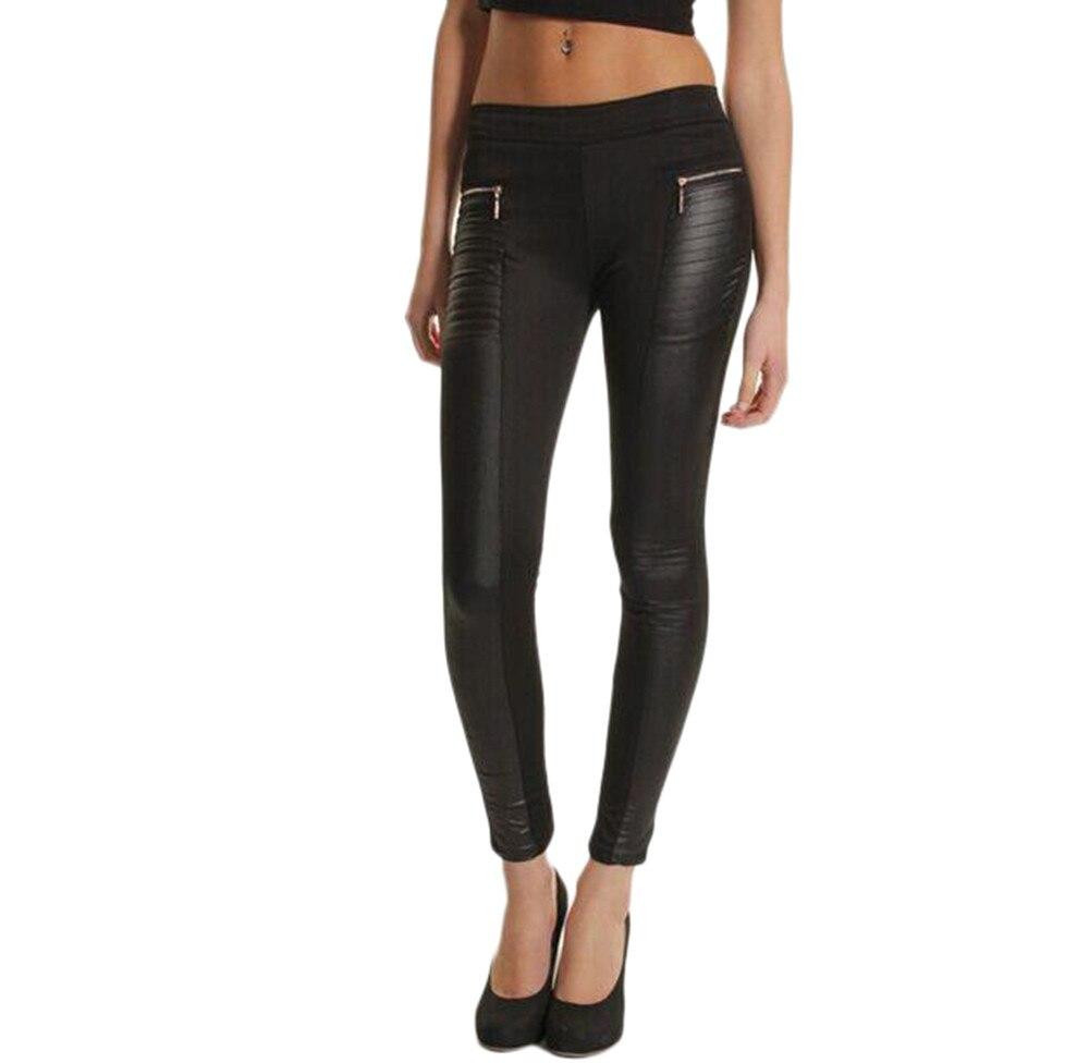 Women pu leather look panel leggings jeggings zip stretch black high waist legging