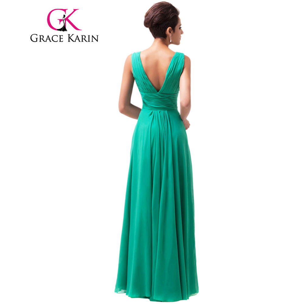 Grace Karin Green Long Prom Dress 2018 V Neck Sequin Prom Gowns ...