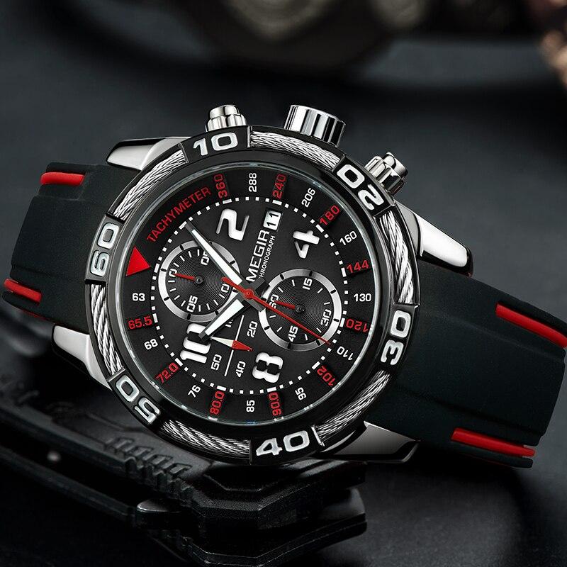 MEGIR Top Brand Men's Military Sports Watches Fashion Waterproof Silicone Quartz Wrist Watch Stop Watch Clock Relogio Masculino цена в Москве и Питере