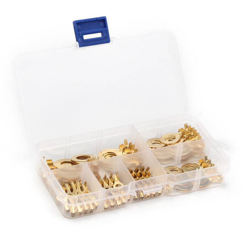 YT 150PCS Ring Type Cable Wire Connectors Terminals Gold Golden Brass Non-insulated Crimp Terminals Connectors
