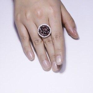 Image 5 - Gems Ballet 3.88Ct Ronde Natuurlijke Rode Granaat Edelsteen Ring 925 Sterling Zilveren Vintage Cocktail Ringen Voor Vrouwen Fijne Sieraden