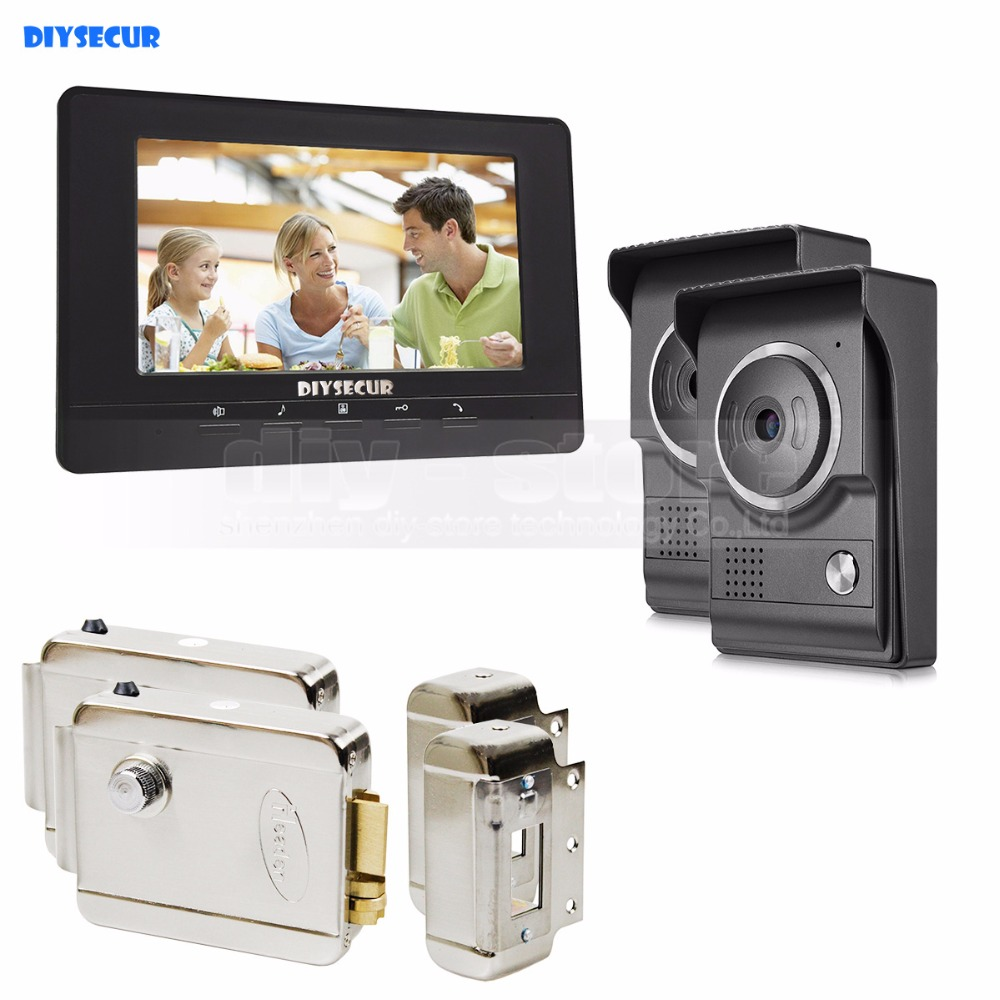 DIYSECUR 7inch Video Intercom Video Door Phone 700TV Line IR Night Vision HD Camera + Electric Lock for Home Office Factory 2V1 saful 7 inch lcd wired video door phone intercom waterproof night vision button electric lock control function free shipping