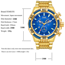 Top Brand Temeite Quartz Analog Watches Luxury Business Watch Men Waterproof Military Wristwatches Men Clock Relogio Masculino