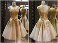 Gold Lace Short Prom Dress Elegant Appliques Lace With Bow Sashes Short Prom Dresses 2016 Fashion Ball Gown Party Prom Dresses