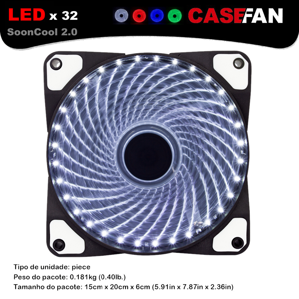ALSEYE Computer Case Fan Cooler 32 LEDs 120mm Cooling Fan for CPU, PC case, Water cooling, 12V DC 3in/4pin 1300RPM 12cm fans 4pin pwm cooler fan 80mm 8cm fan case fan for power supply for computer case computer fan cooler foxconn 8025pwm