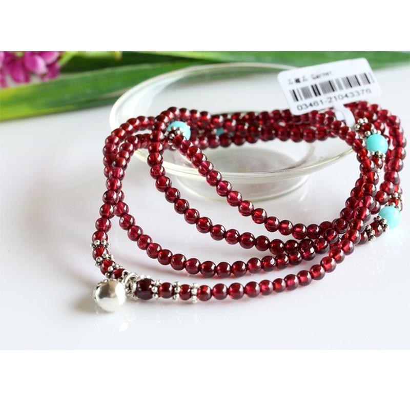 Echt Rode Granaat Met Thailand Zilver Hoge Kwaliteit Stretch 5 Multi Roll Stretch Armband Ketting Ronde Kleine kralen 03461 - 5