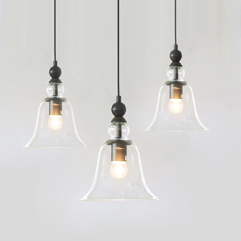 Modern Bell Shape Glass Bell Pendant Light Glass Material Hanging Lamp Edison Vintage Lamp Decor For Dining Room Home Lighting