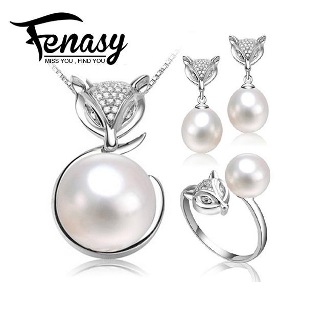 FENASY conjunto de Perlas naturales, sistemas de la joyería de plata 925 collar de perlas y pendientes para las mujeres