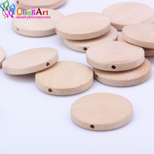 OlingArt 30MM 12pcs/lot Natural Wooden Flat round childrens jewelry toys making DIY crafts decor Accessories the best Gift