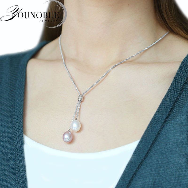 YouNoble real long natural pearl pendant for women,925 silver pendants with pearl pendant necklace chain bridal white