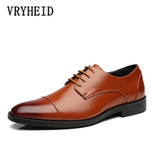 VRYHEID Brand Mens Leather Shoes British Lace-up Casual Breathable Men Business Dress Fashion Formal Derby shoes