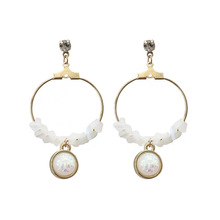 Newest Fashion Design Black Post Irregular White Glass With Colorful Round Drop Earrings For Woman Gift