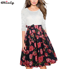 Oxiuly Elegant Sexy Lace See Through Tunic Flower Print Lace Patchwork Vestidos 3/4 Sleeve Skater A-Line Party Dress with Belt