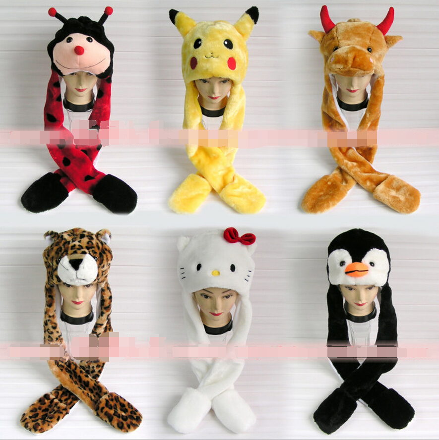 2015 New winter hat cartoon character animal cap ear protector plush beanies with long Scarf and Gloves set for women men child 35colors silver gold soild india scarf cap warmer ear caps yoga hedging headwrap men and women beanies multicolor fold hat 1pc