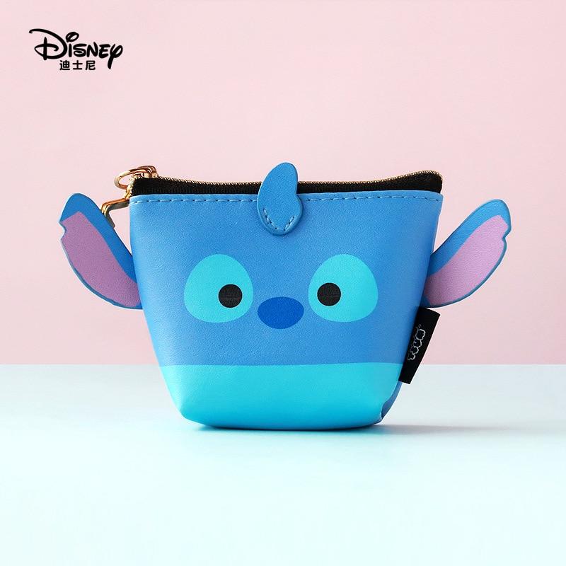 Disney Minnie Mouse Portable Cosmetic Make Up Bag Multi-purpose Storage Tsum Coin Cartoon Purse Handbag Stitch Makeup PU Leather