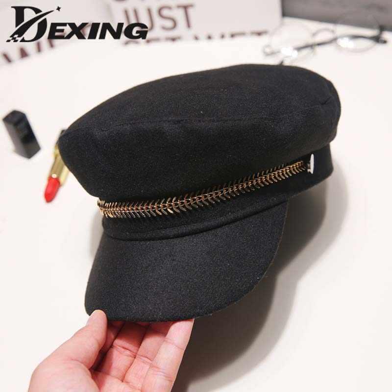 Jesień zima Retro czarny marynarz kapelusz z wełny czapka wojskowa dla kobiet mężczyzn płaskie top podróży kadetów kapelusz dziki modny łańcuch kapitan czapka z daszkiem