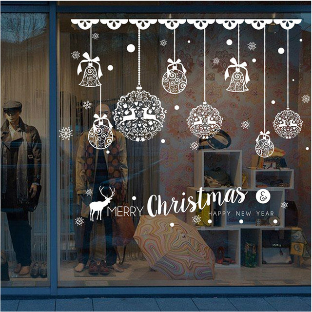 Renne Decoration Noel Exterieur 2018 New Year Shop Window Stickers Merry Christmas Bells