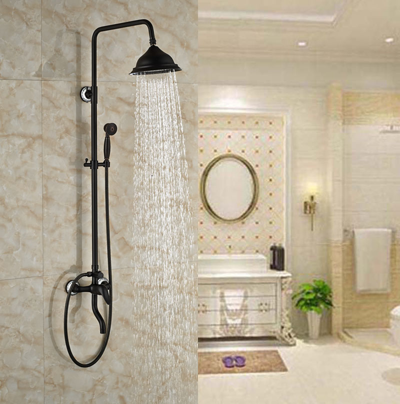 Luxury Oil Rubbed Broze Shower Set Bathroom Shower Units Three Holes Exposed