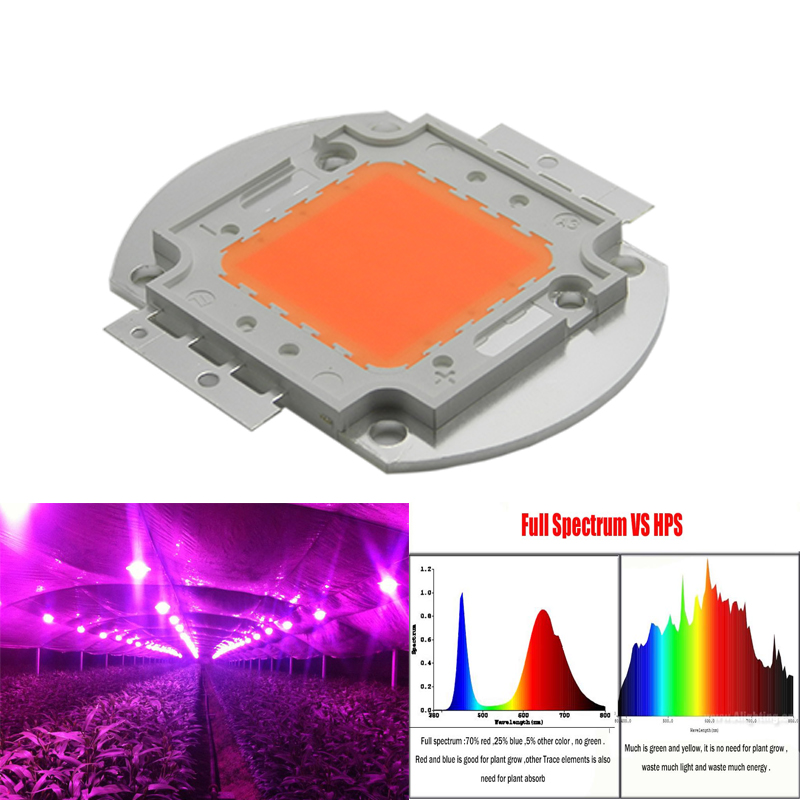1 шт. оптовая продажа 400nm-840nm полный спектр привело растут чип 50 Вт 100 Вт светодиодные фонари завод источник света для цветок завод Гидропоник...