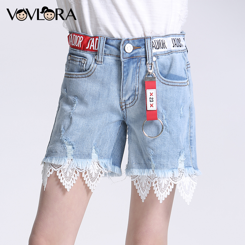 Ripped Lace Patchwork Girls Denim Shorts Summer Hole Blue Kids Jeans Shorts Cotton Casual Clothes Size 9 10 11 12 13 14 Years 2017 summer fashion rivets tassel women denim shorts high waist casual hole jeans women black white light blue s 2xl hot sale