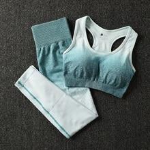 2 шт Омбре Спортивный комплект для йоги Женская спортивная одежда спортивный бюстгальтер и леггинсы Женская Спортивная одежда для тренажерного зала женский костюм для фитнеса
